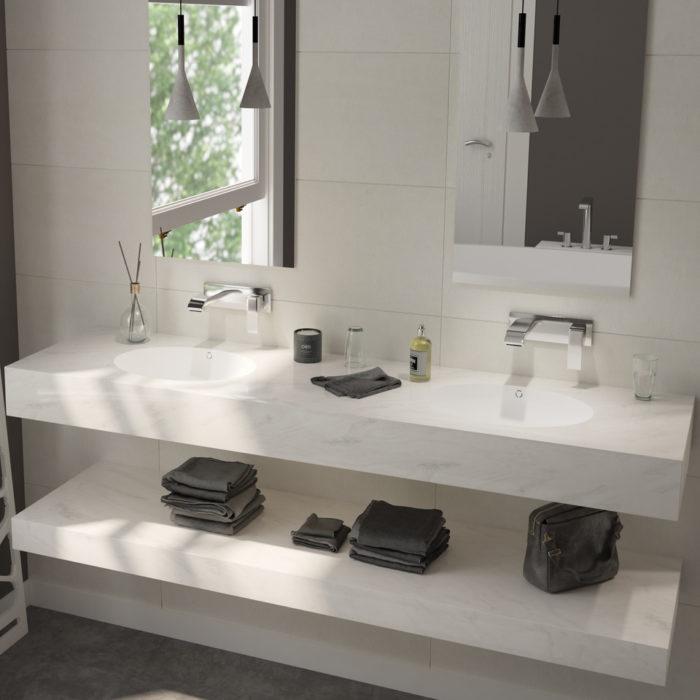 deux vasques dans une salle de bains