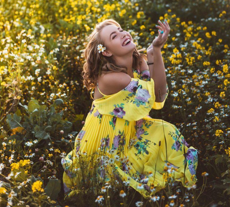 robe fleurie jaune